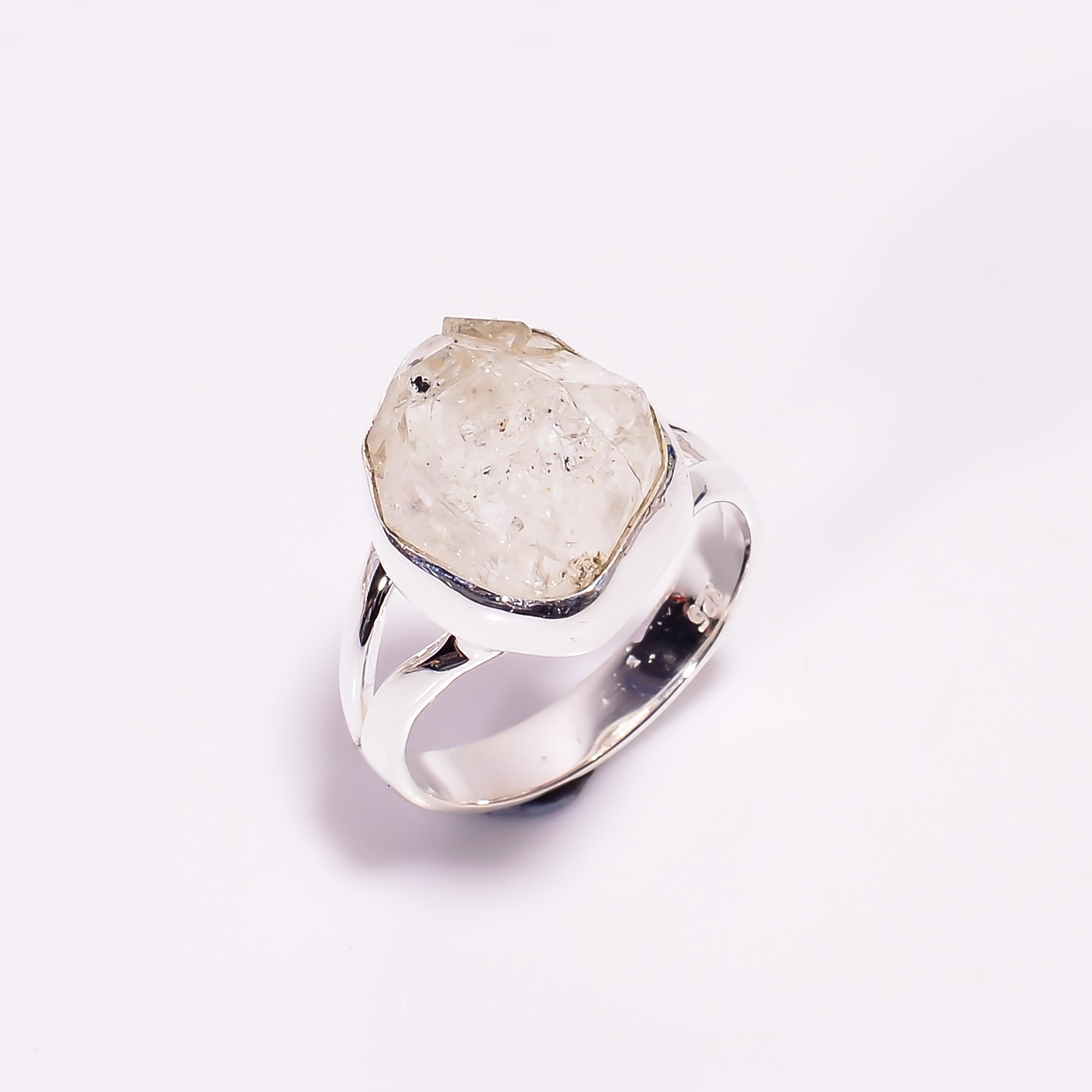 Natural Herkimer Diamond 925 Sterling Silver Ring Size US 7.75