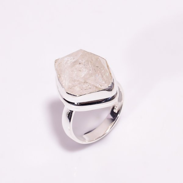 Natural Herkimer Diamond 925 Sterling Silver Ring Size US 6.75