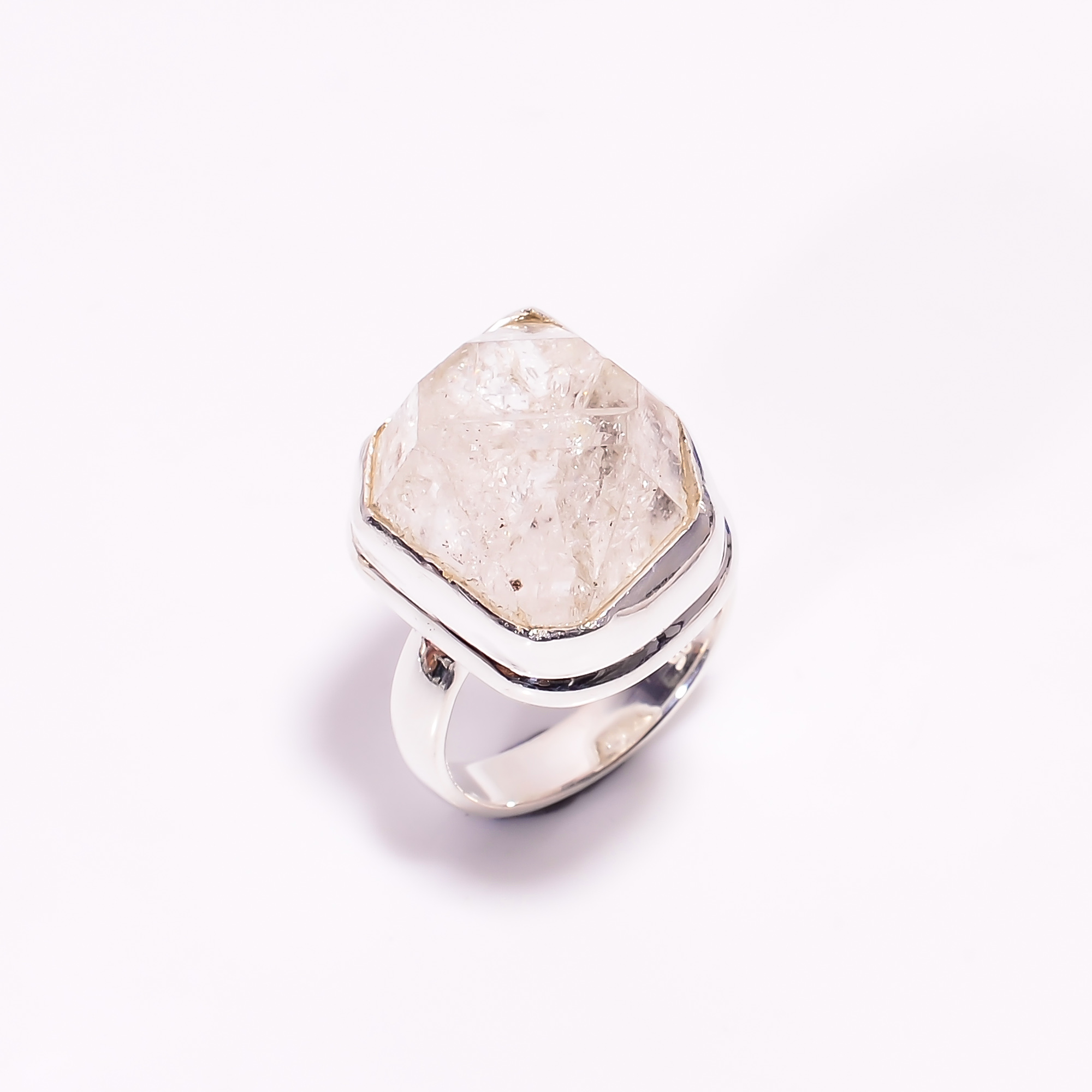 Natural Herkimer Diamond 925 Sterling Silver Ring Size US 6