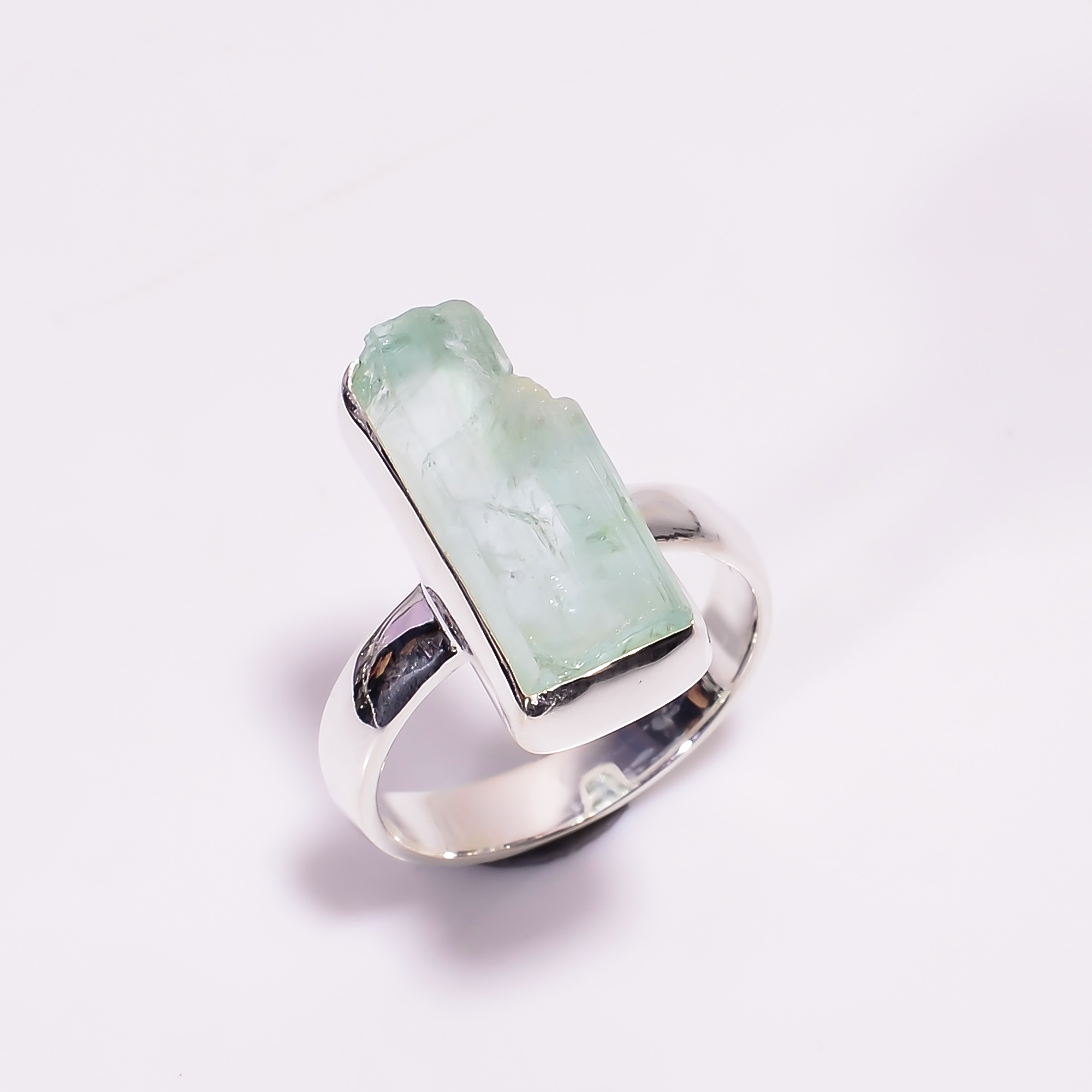 Natural Aquamarine Gemstone 925 Sterling Silver Ring Size US 6.75