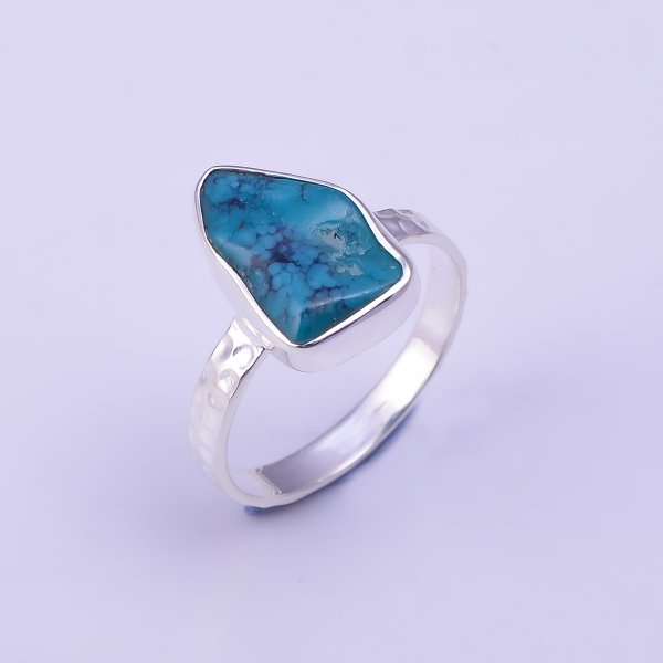 Turquoise Raw Gemstone 925 Sterling Silver Hammered Ring Size US 7.25