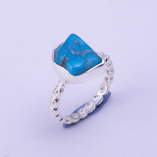 Turquoise Raw Gemstone 925 Sterling Silver Ring Size US 5.5