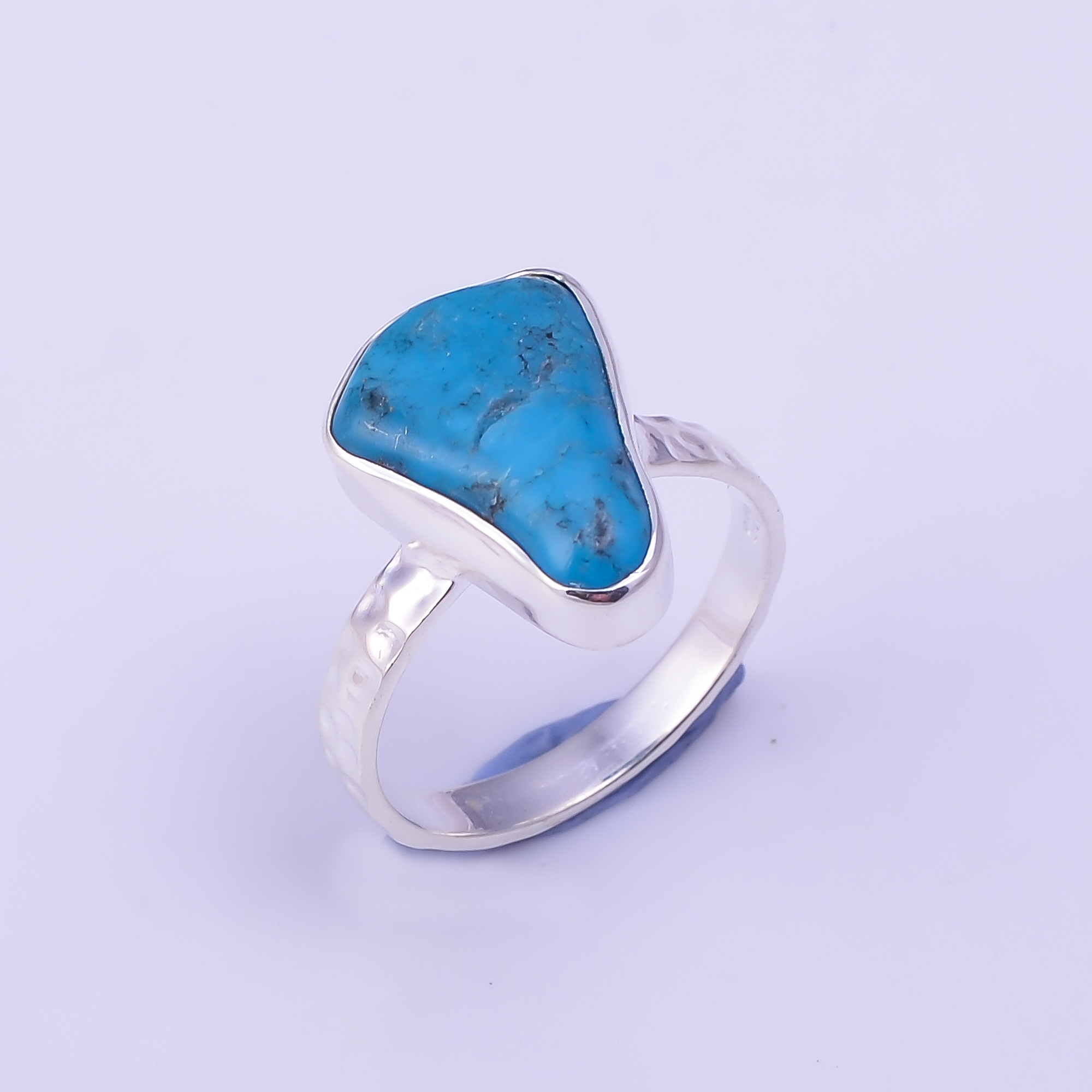 Turquoise Raw Gemstone 925 Sterling Silver Hammered Ring Size US 5.75