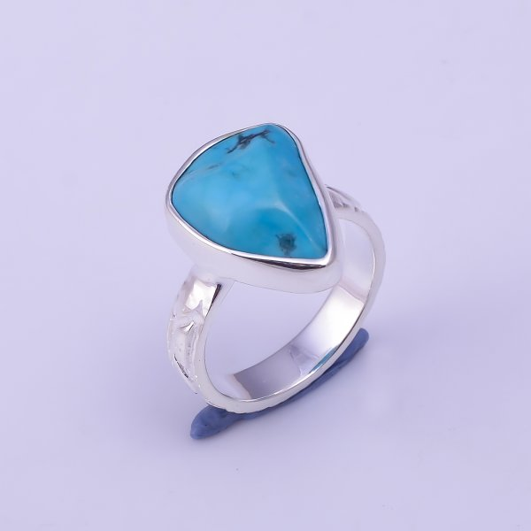 Turquoise Raw Gemstone 925 Sterling Silver Ring Size US 5.75