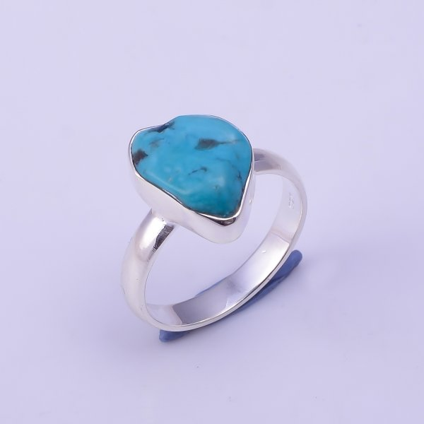 Turquoise Raw Gemstone 925 Sterling Silver Ring Size US 7.75