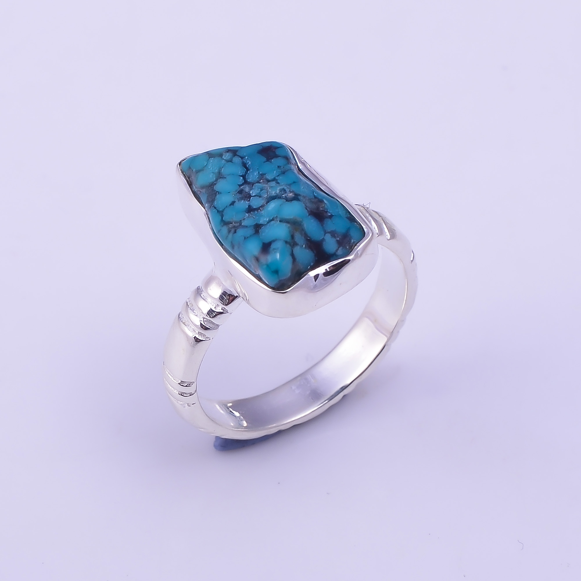 Turquoise Raw Gemstone 925 Sterling Silver Ring Size US 7.5