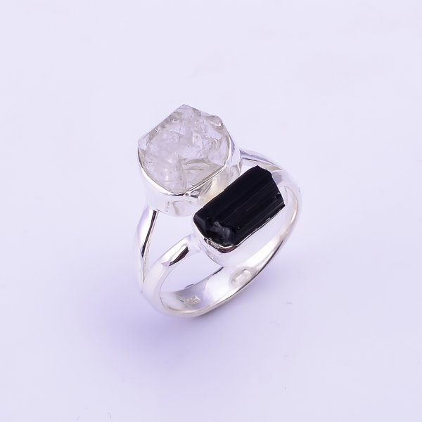 Herkimer Diamond Black Tourmaline Raw Gemstone 925 Sterling Silver Ring Size US 7