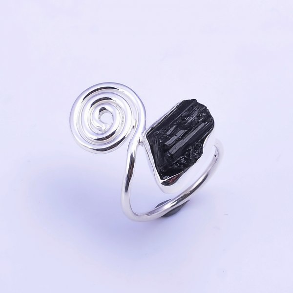 Black Tourmaline Raw Gemstone 925 Sterling Silver Ring Size US 5.75