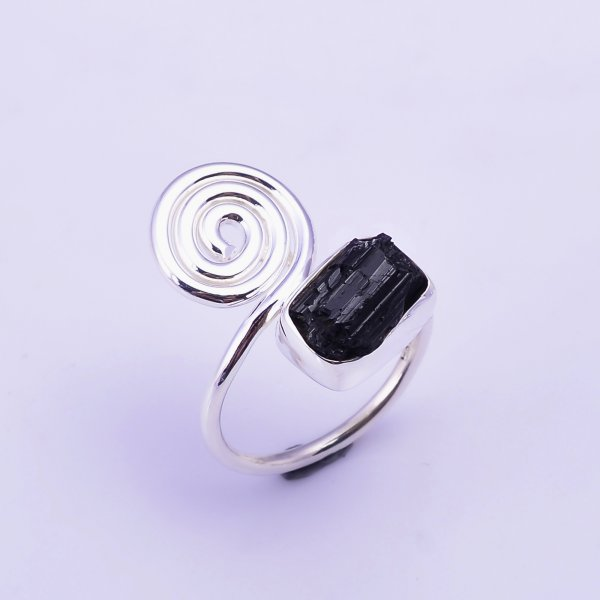 Black Tourmaline Raw Gemstone 925 Sterling Silver Ring Size US 7