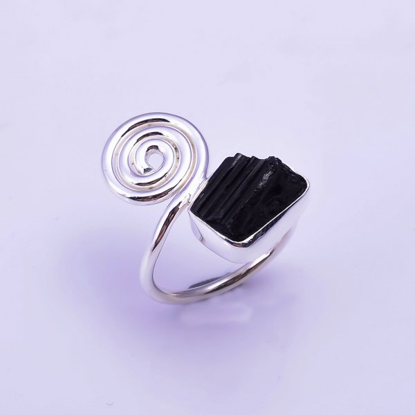 Black Tourmaline Raw Gemstone 925 Sterling Silver Ring Size US 6