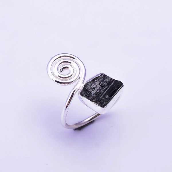 Black Tourmaline Raw Gemstone 925 Sterling Silver Ring Size US 8