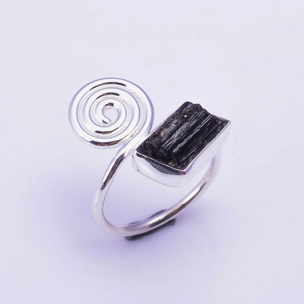 Black Tourmaline Raw Gemstone 925 Sterling Silver Ring Size US 7.75