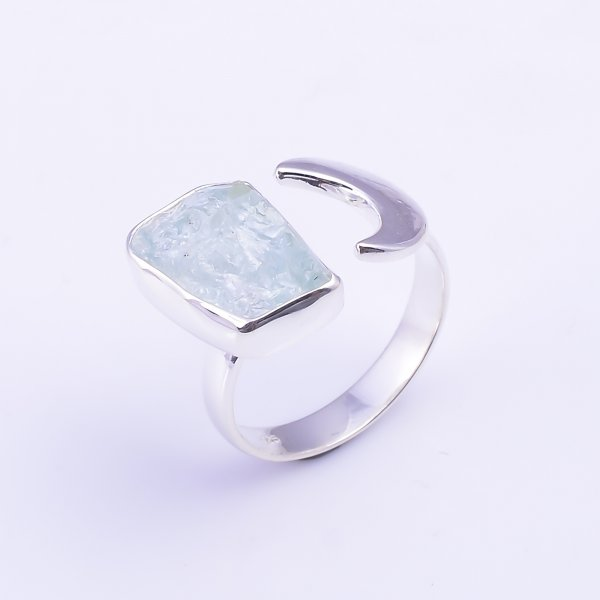 Raw Aquamarine Gemstone 925 Sterling Silver Ring Size US 7.5 Adjustable