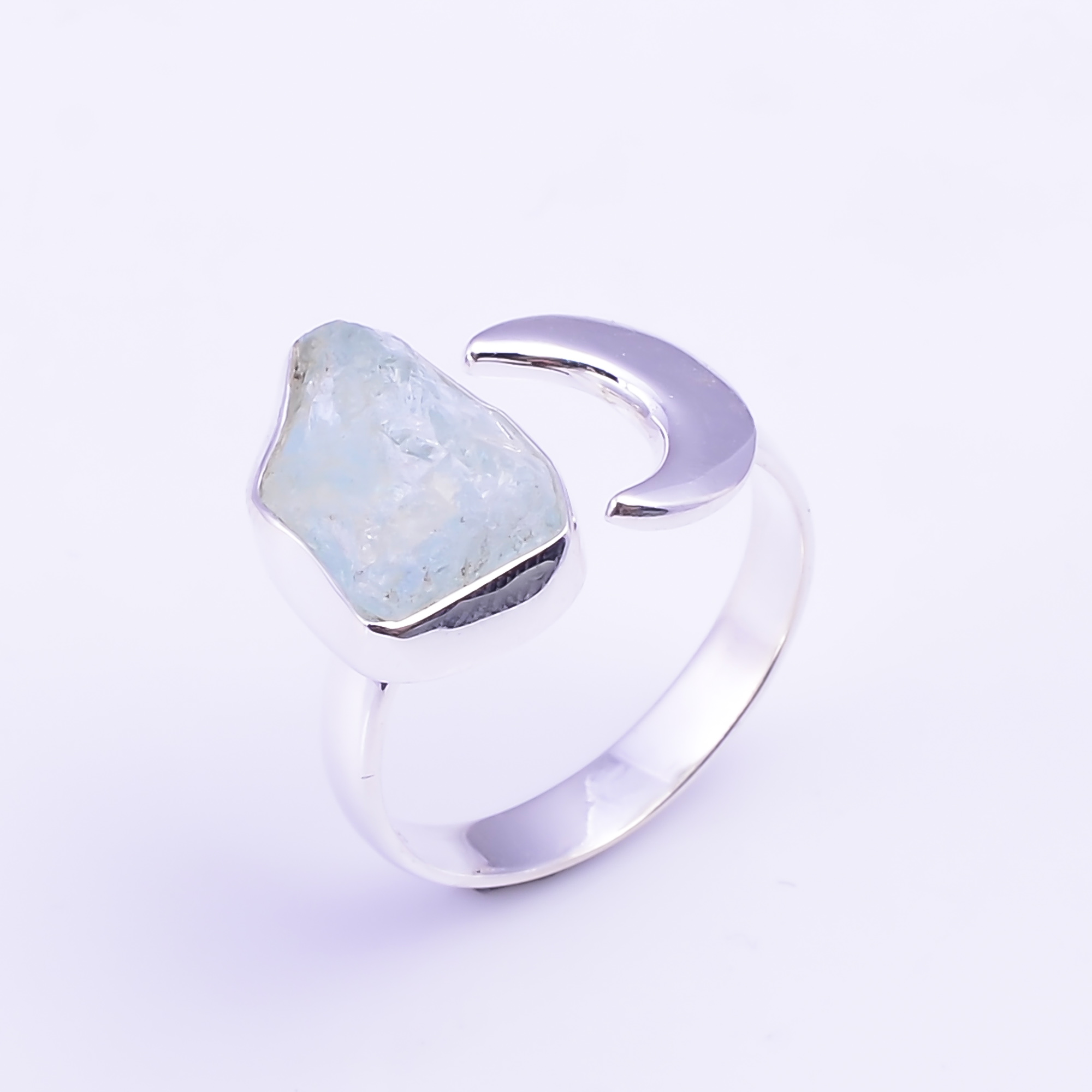 Raw Aquamarine Gemstone 925 Sterling Silver Ring Size US 8.25 Adjustable