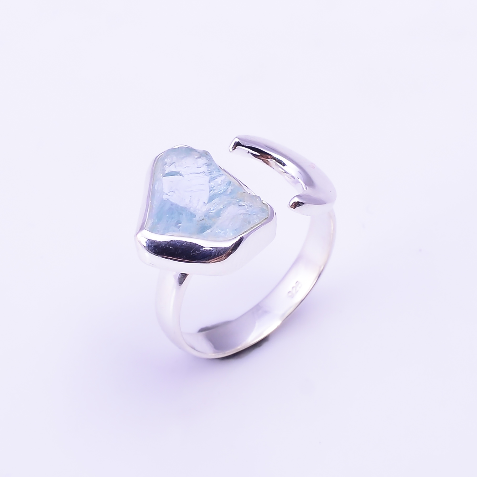 Raw Aquamarine Gemstone 925 Sterling Silver Ring Size US 7.75 Adjustable