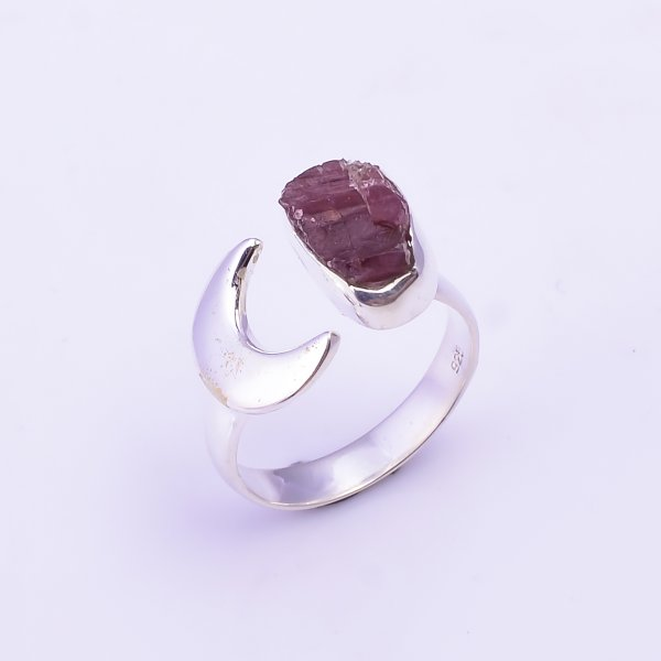 Raw Pink Tourmaline Gemstone 925 Sterling Silver Ring Size US 6.5 Adjustable