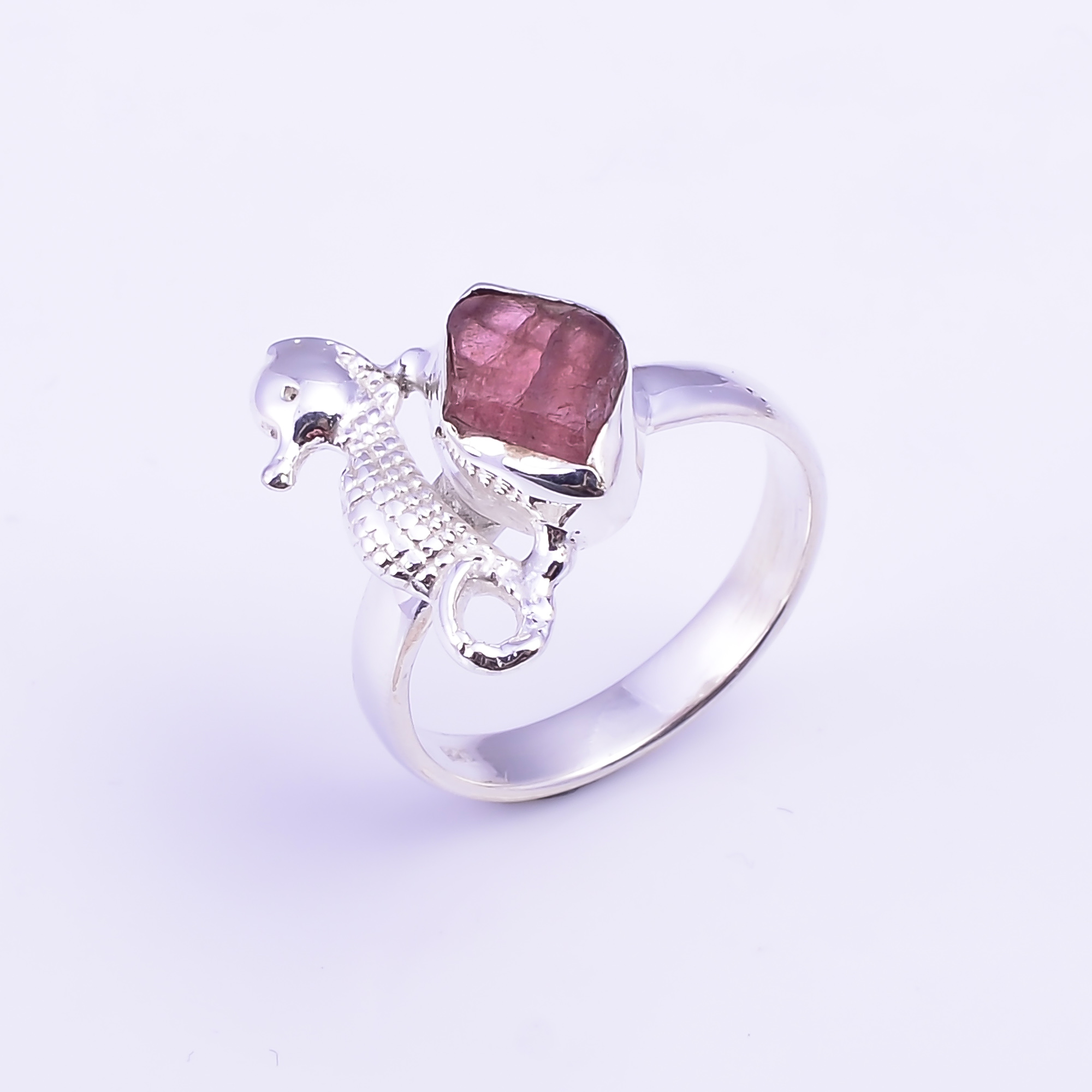 Raw Pink Tourmaline Gemstone 925 Sterling Silver Ring Size US 8