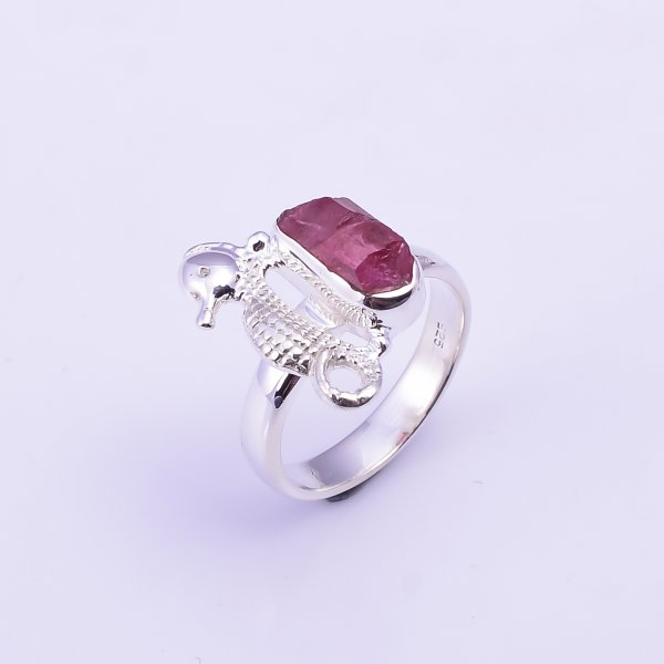 Raw Pink Tourmaline Gemstone 925 Sterling Silver Ring Size US 6