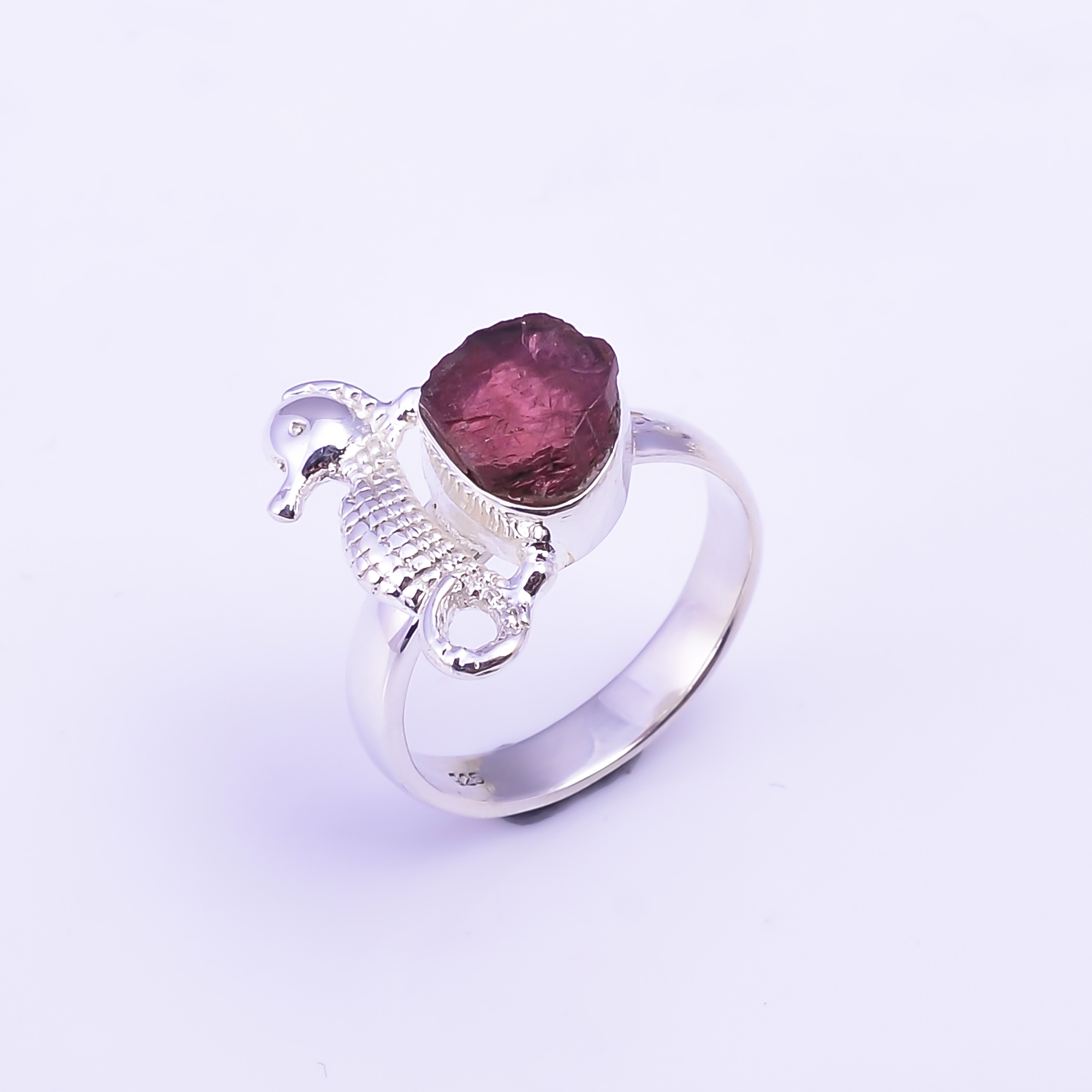 Raw Pink Tourmaline Gemstone 925 Sterling Silver Ring Size US 7
