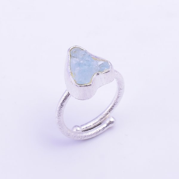 Raw Aquamarine Gemstone 925 Sterling Silver Ring Size US 6 Adjustable