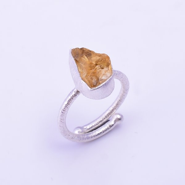 Raw Citrine Gemstone 925 Sterling Silver Ring Size US 5.25 Adjustable