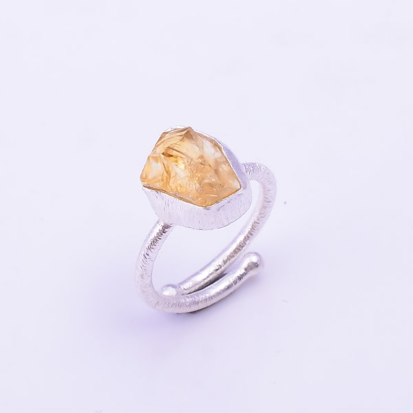 Raw Citrine Gemstone 925 Sterling Silver Ring Size US 5.5 Adjustable