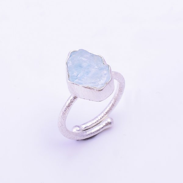 Raw Aquamarine Gemstone 925 Sterling Silver Ring Size US 6.75 Adjustable