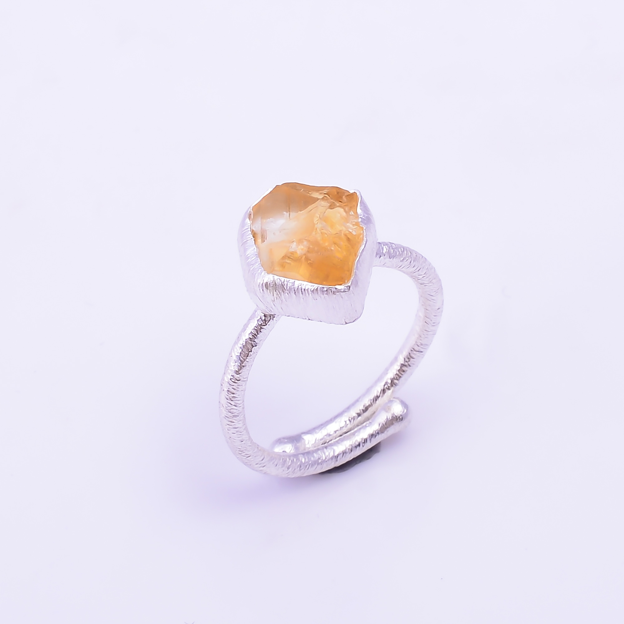 Raw Citrine Gemstone 925 Sterling Silver Ring Size US 6.5 Adjustable