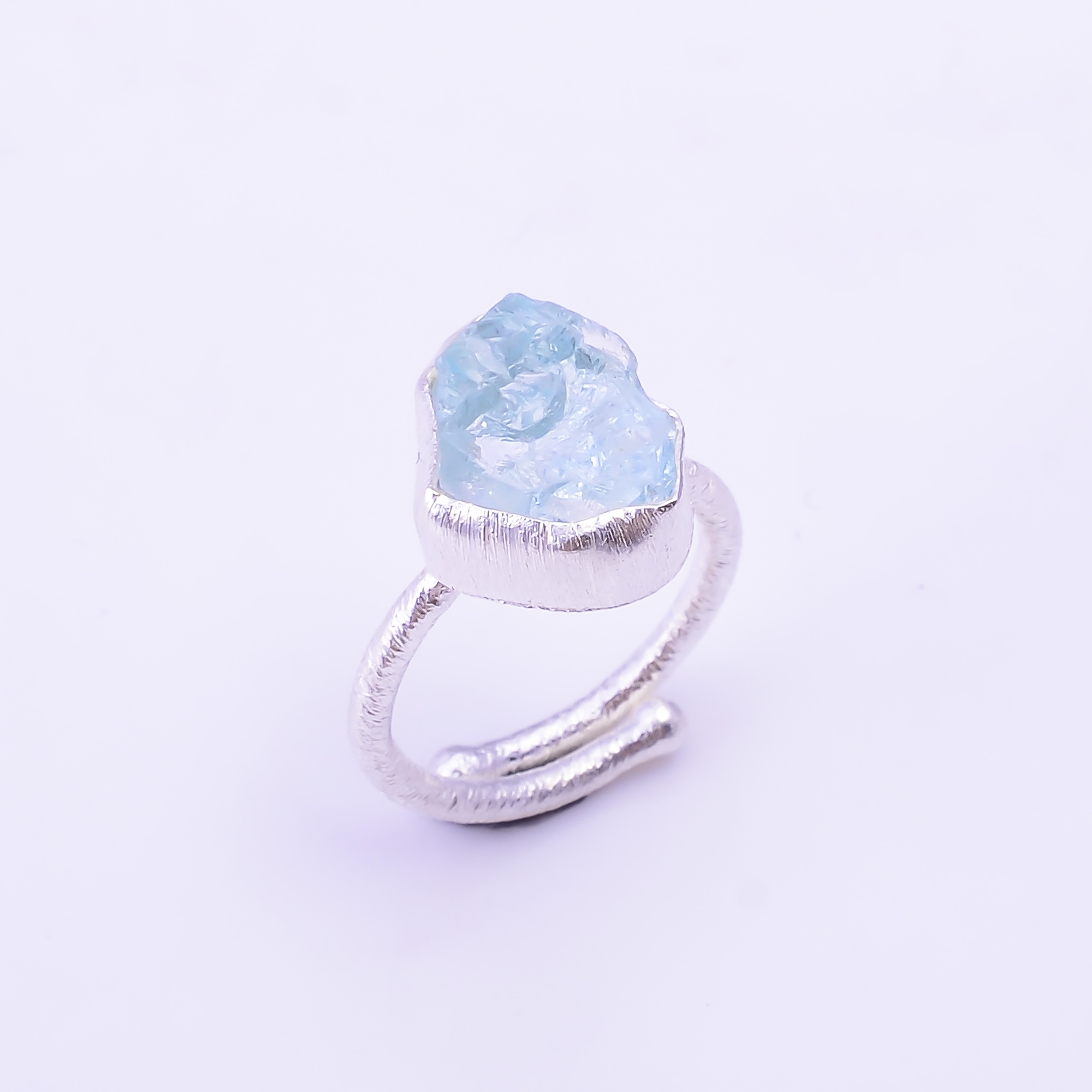 Raw Aquamarine Gemstone 925 Sterling Silver Ring Size US 5.75 Adjustable