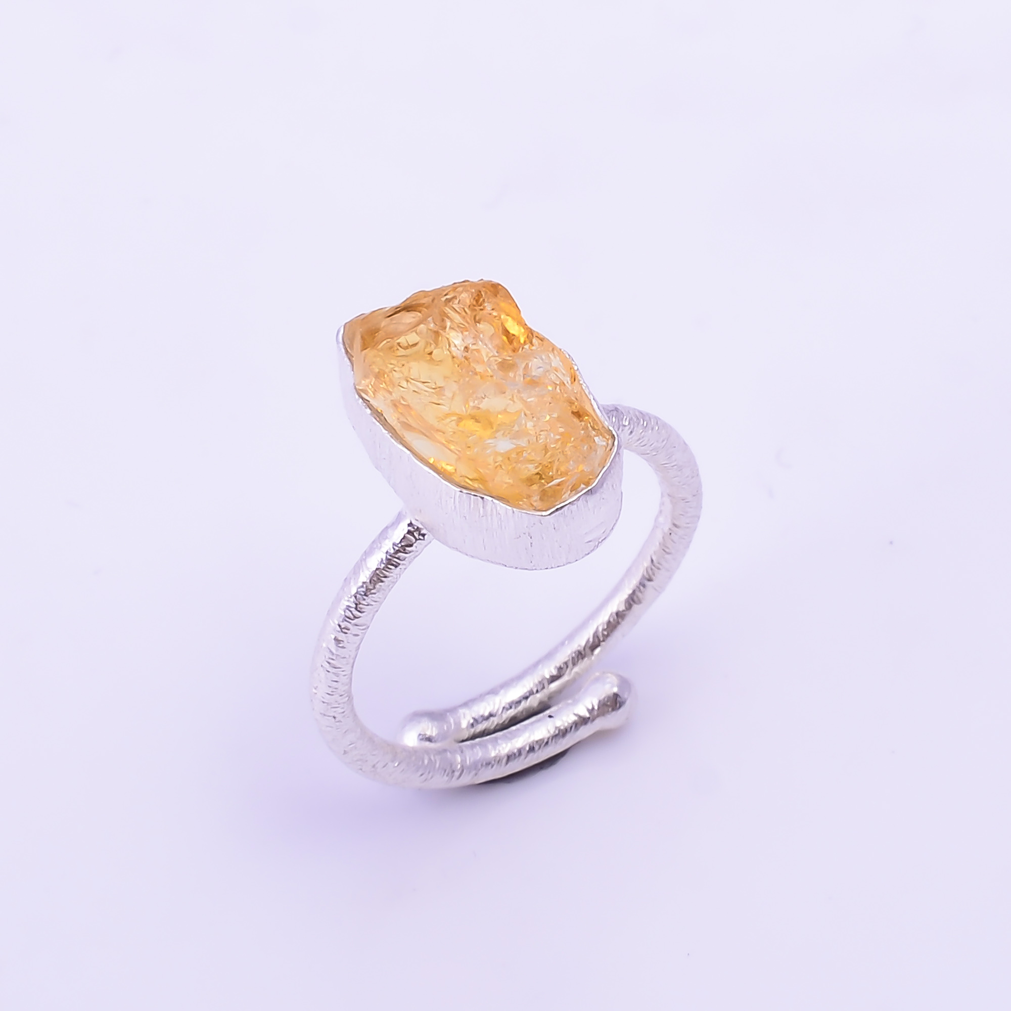 Raw Citrine Gemstone 925 Sterling Silver Ring Size US 6.75 Adjustable