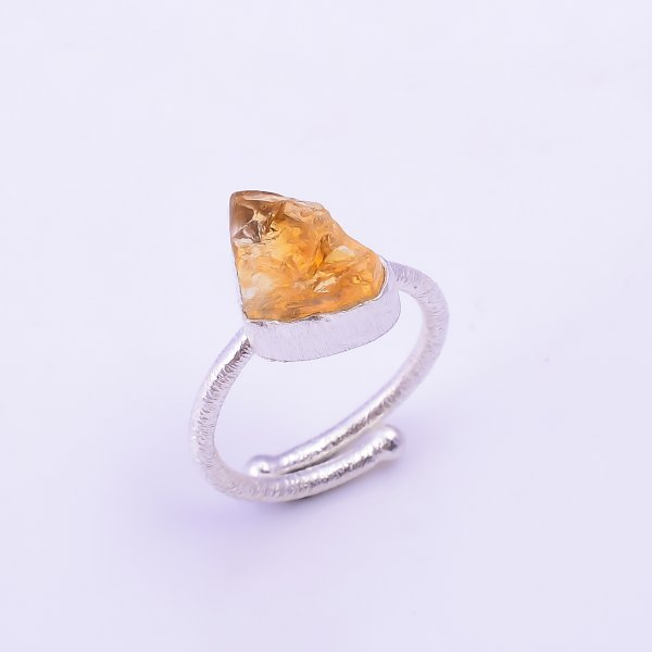 Raw Citrine Gemstone 925 Sterling Silver Ring Size US 7.5 Adjustable