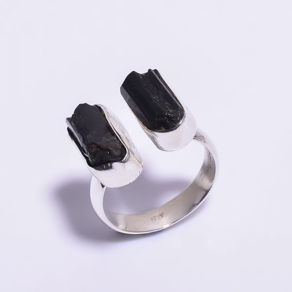 Black Tourmaline Raw Gemstone 925 Sterling Silver Ring Size US 9 Adjustable