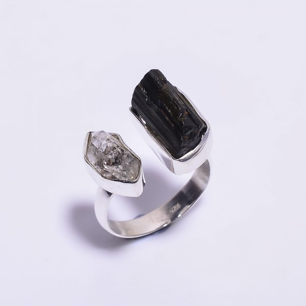 Herkimer Diamond Black Tourmaline Gemstone 925 Sterling Silver Ring Size US 6.75 Adjustable