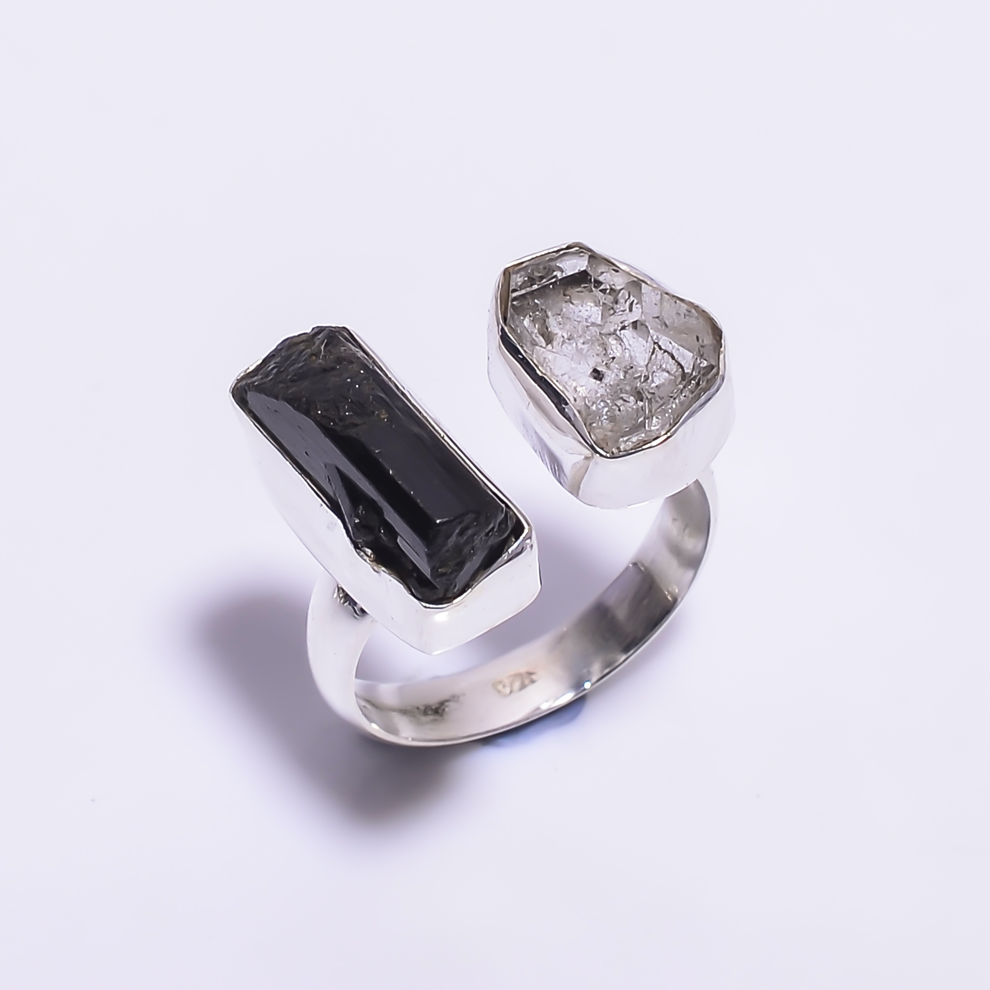 Natural Black Tourmaline Herkimer Diamond 925 Sterling Silver Ring Size US 5.5 Adjustable