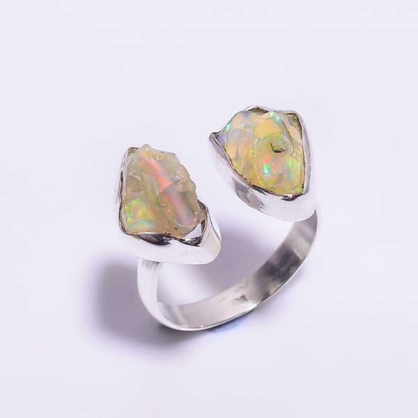 Ethiopian Opal Raw Gemstone 925 Sterling Silver Ring Size 8 Adjustable