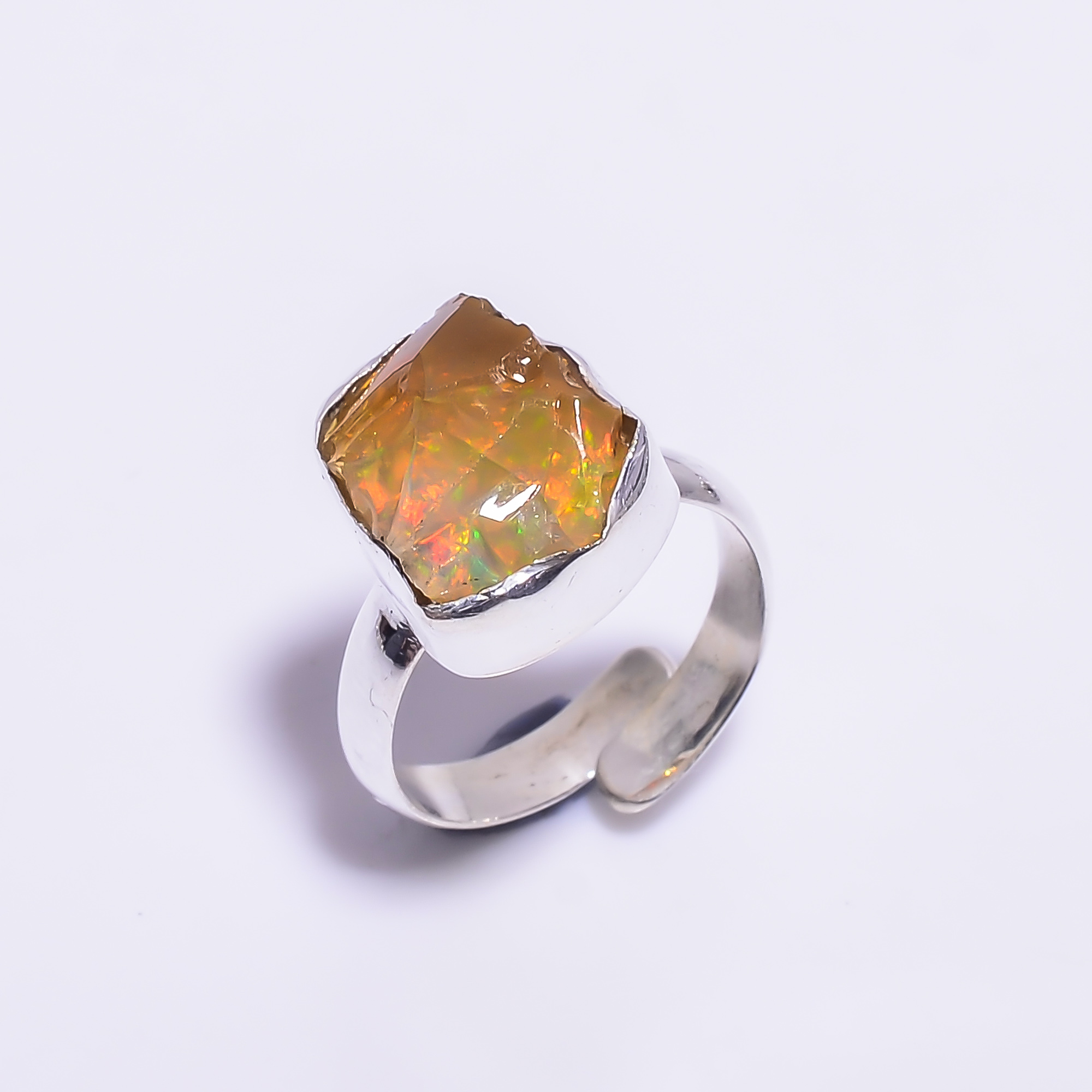Ethiopian Opal Raw Gemstone 925 Sterling Silver Ring Size 5 Adjustable
