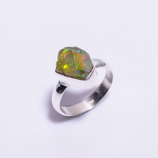 Ethiopian Opal Raw Gemstone 925 Sterling Silver Ring Size 6.5