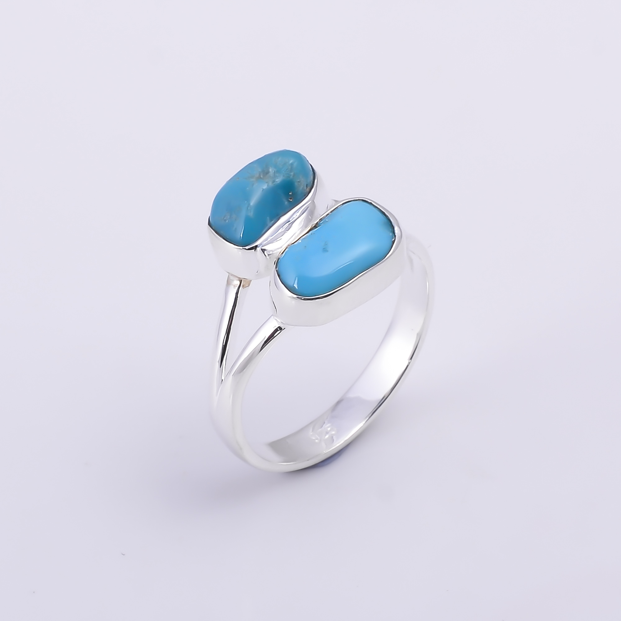 Turquoise Raw Gemstone 925 Sterling Silver Ring Size US 9