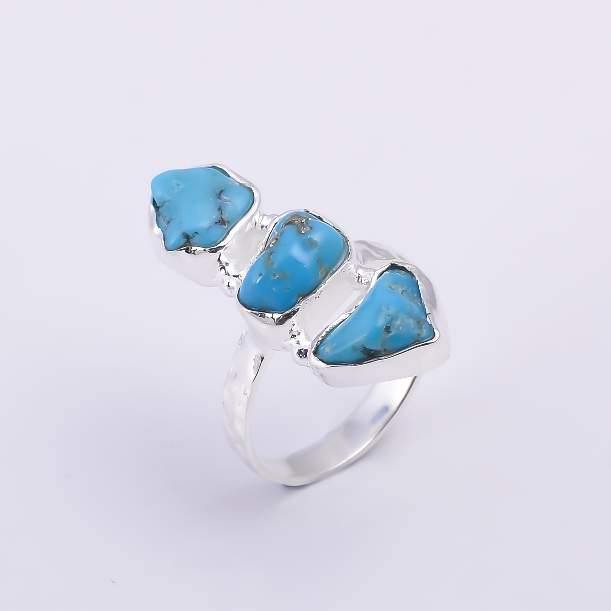 Turquoise Raw Gemstone 925 Sterling Silver Hammered Ring Size US 5.5