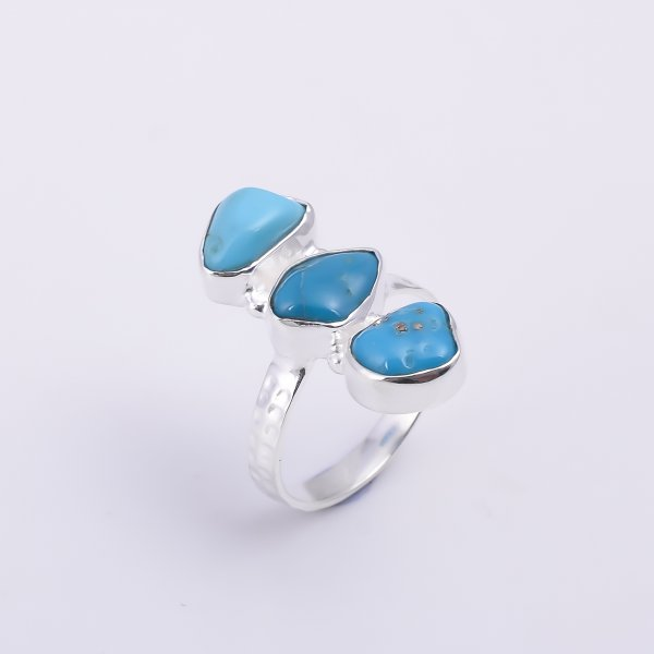 Turquoise Raw Gemstone 925 Sterling Silver Hammered Ring Size US 6.5