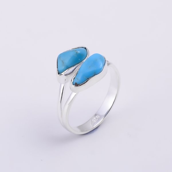 Turquoise Raw Gemstone 925 Sterling Silver Ring Size US 8.5