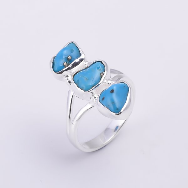Turquoise Raw Gemstone 925 Sterling Silver Ring Size US 7.25
