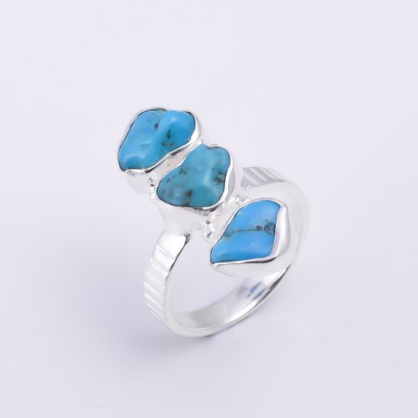 Turquoise Raw Gemstone 925 Sterling Silver Ring Size US 6.5