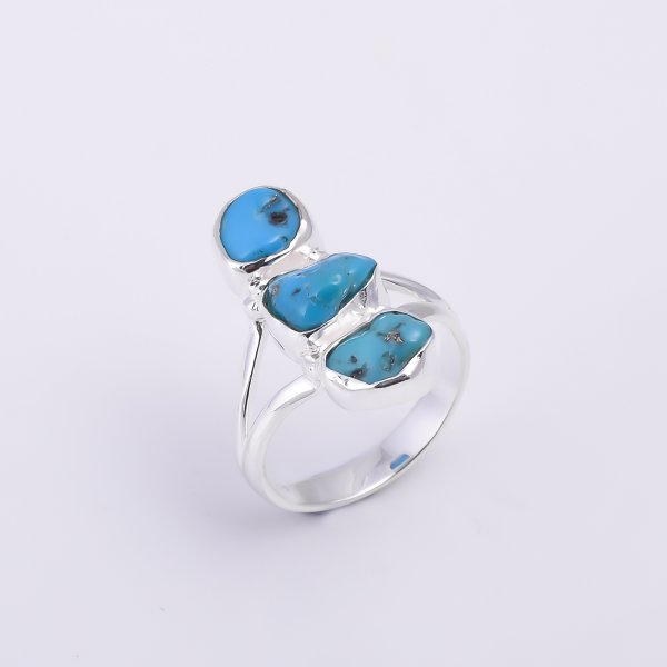 Turquoise Raw Gemstone 925 Sterling Silver Ring Size US 6.75