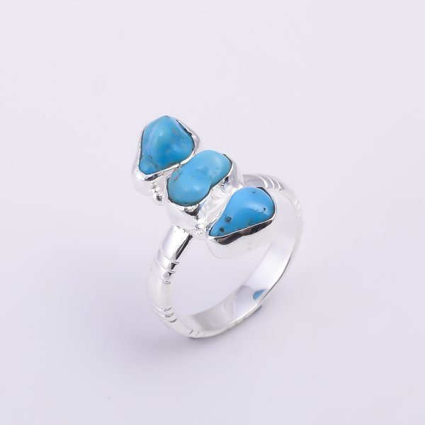 Turquoise Raw Gemstone 925 Sterling Silver Ring Size US 8.75