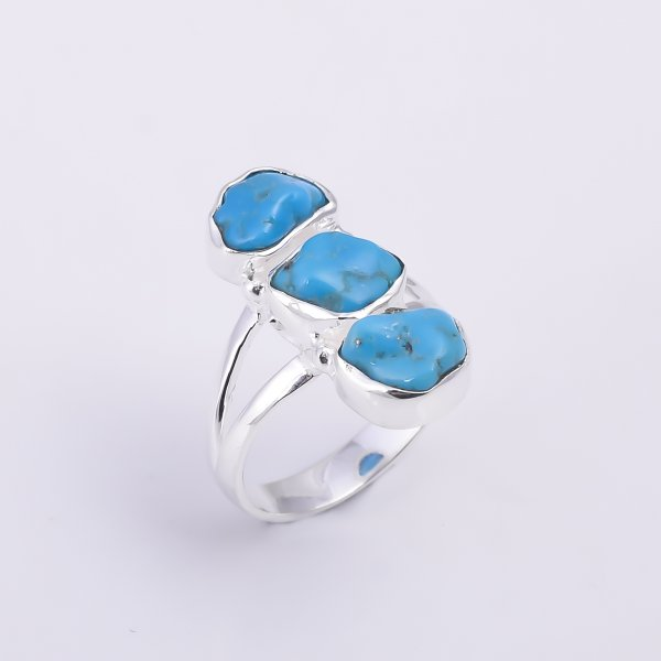 Turquoise Raw Gemstone 925 Sterling Silver Ring Size US 6