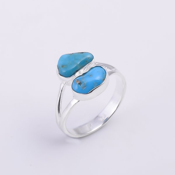 Turquoise Raw Gemstone 925 Sterling Silver Ring Size US 8