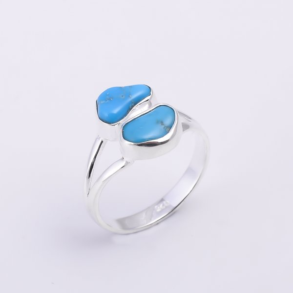Turquoise Raw Gemstone 925 Sterling Silver Ring Size US 9.25