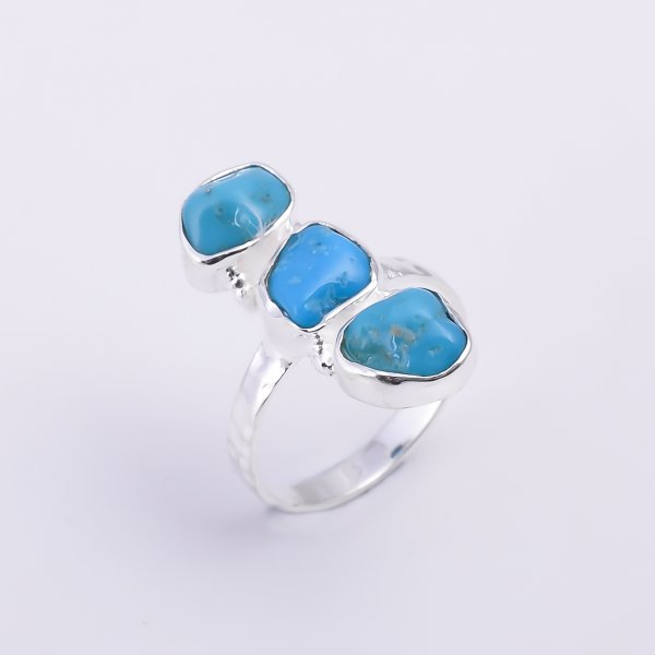 Turquoise Raw Gemstone 925 Sterling Silver Hammered Ring Size US 7.5