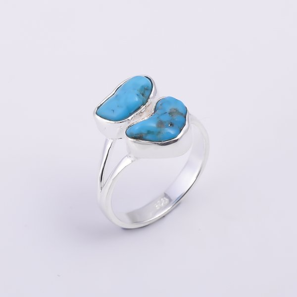 Turquoise Raw Gemstone 925 Sterling Silver Ring Size US 7